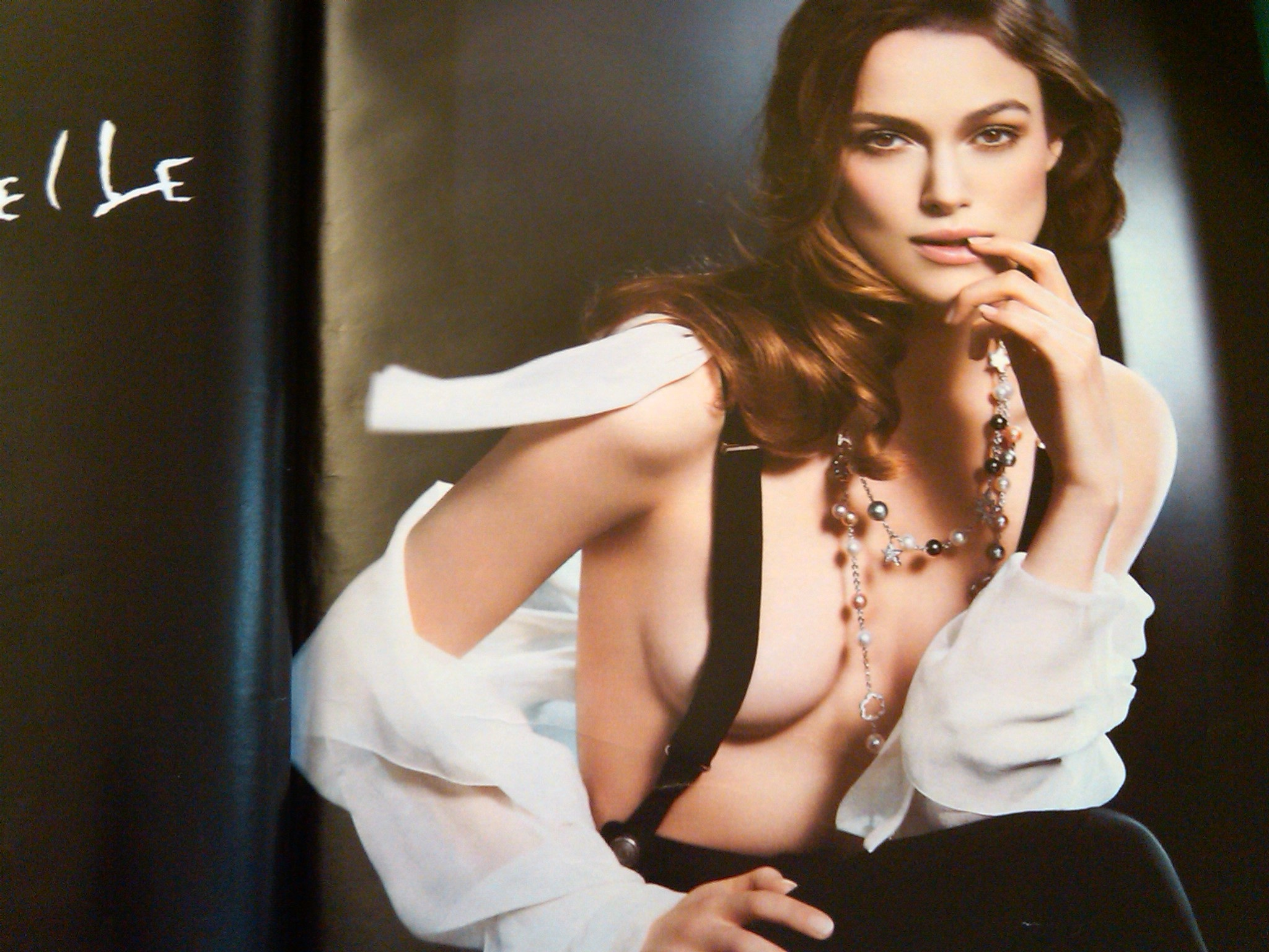 Kiera Knightly for Chanel Mademoiselle - love the shirtless suspenders